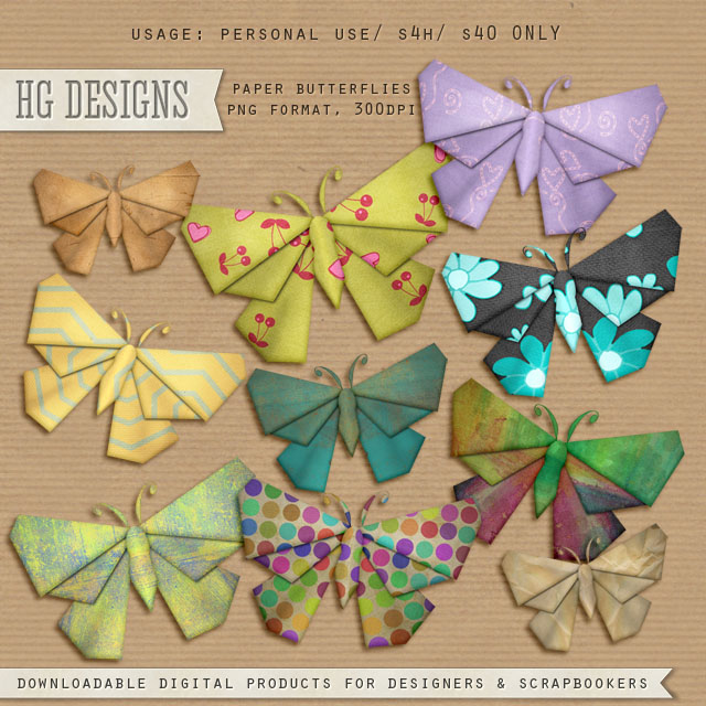 Free scrapbook paper butterflies from HG designs