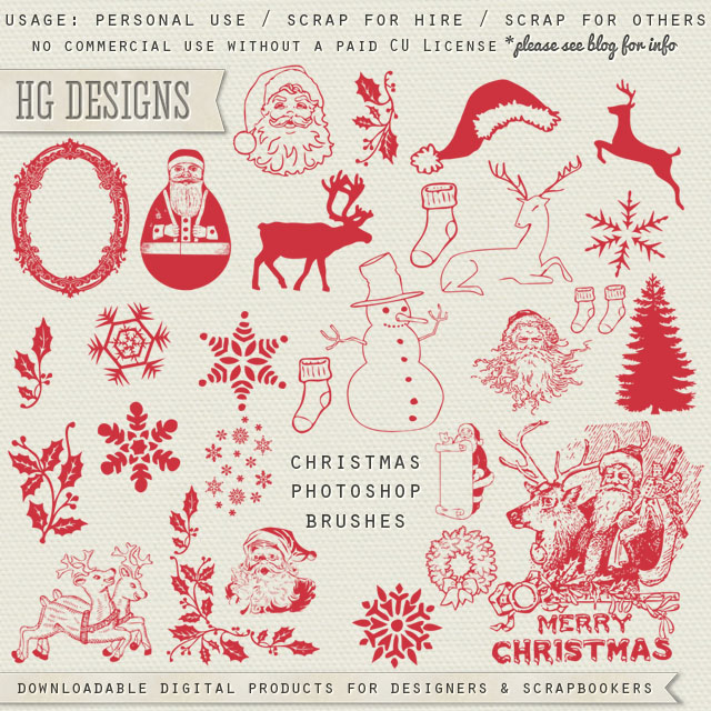 Quality DigiScrap Freebies: Christmas Photoshop Brushes freebie from ...