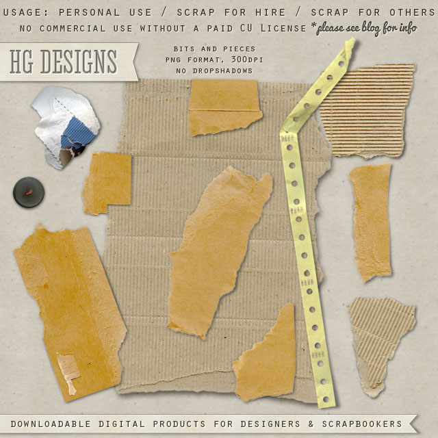 "Free scrapbook torn papers ""Bits and pieces"" from HG designs"
