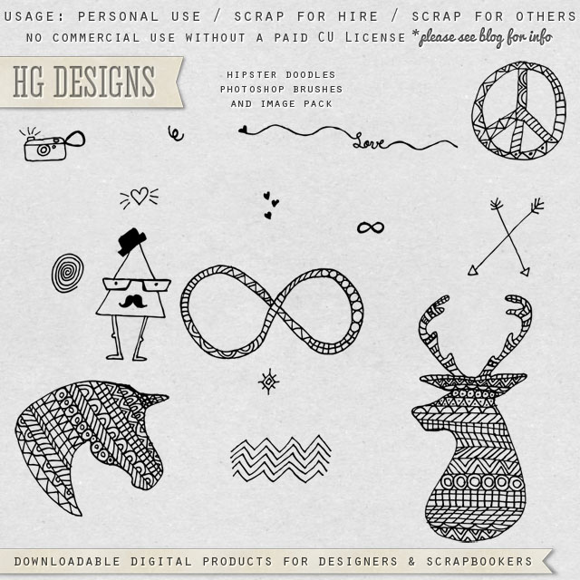 Free scrapbook hipster doodles from HG Designs | BEST FREE