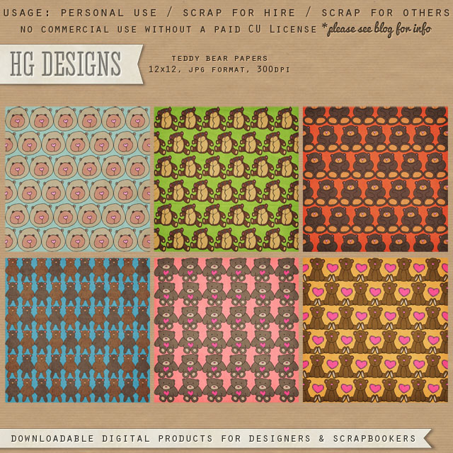 Free scrapbook bears paper pack from HG Designs