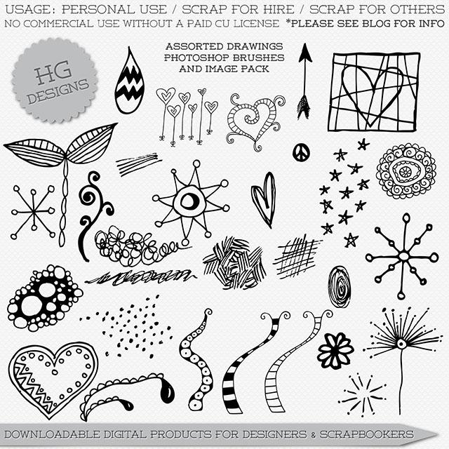 Freebie: Assorted Drawings Photoshop Brushes