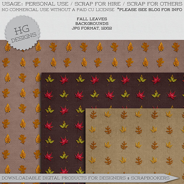 freebie: fall leaves paper pack