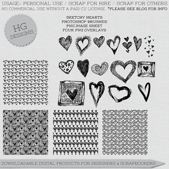 freebie: sketchy hearts brushes and overlays