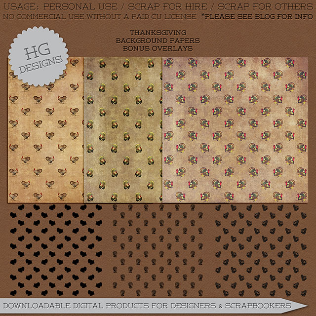 freebie: thanksgiving turkey papers and overlays