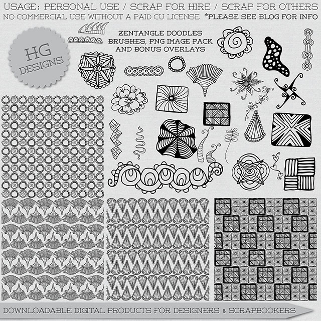 freebie: zentangle brushes and overlays