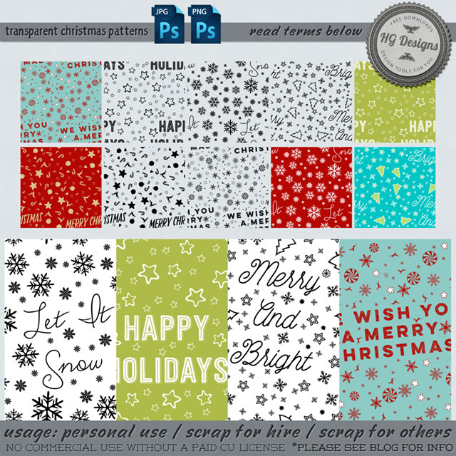 Free transparent seamless christmas patterns from Cesstrelle– {PU}